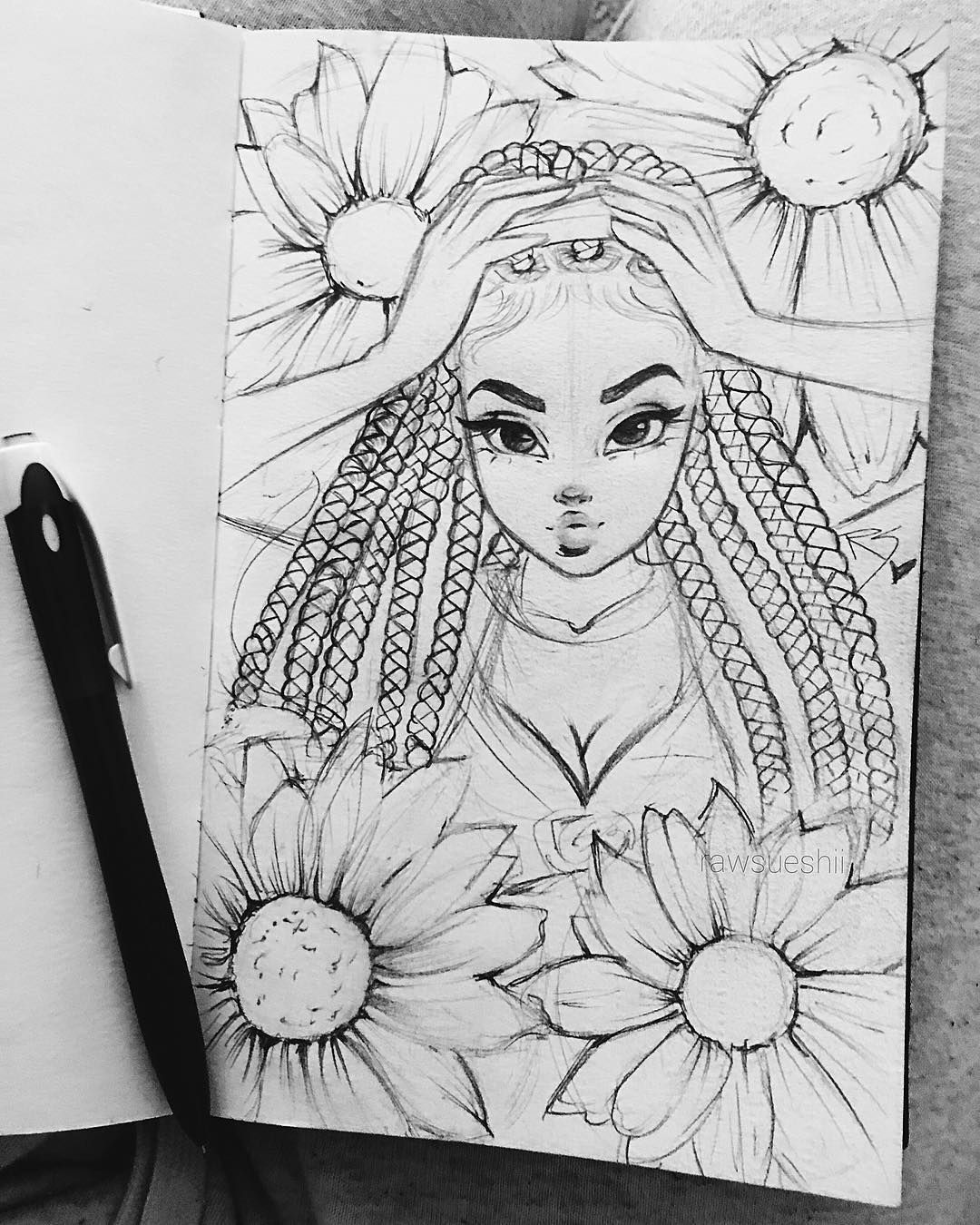 I Used My New Box Braids Drawing Technique In This Sketch Check Out My New Tutorial So You Can Do It Art Sketches How To Draw Braids Christina Lorre Drawings