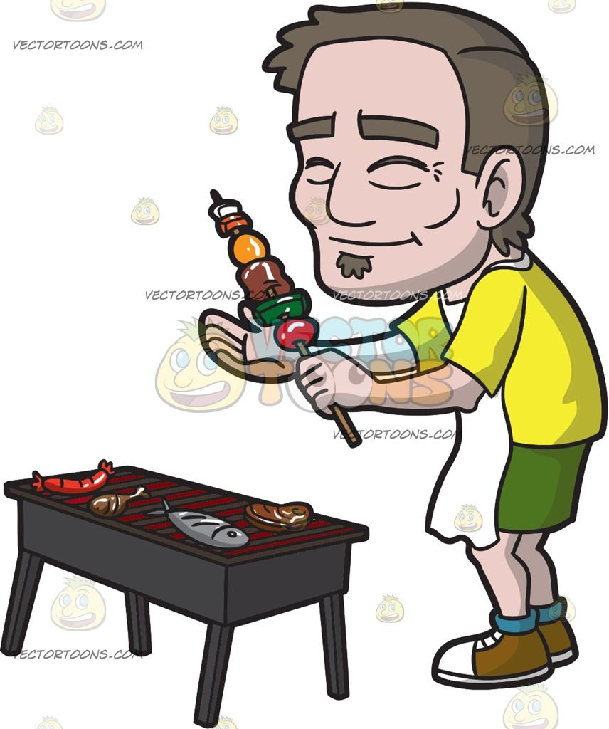 White apron meats - A Happy Old Man Barbecuing For A Small Party Grilled Meatskewersblue Sockswhite Aprongreen