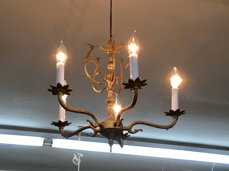Vintage petite brass spanish chandelier light 5 arm spanish petite vintage brass chandelier light 5 arm spanish chandelier by theriverroostvintage on etsy aloadofball Image collections