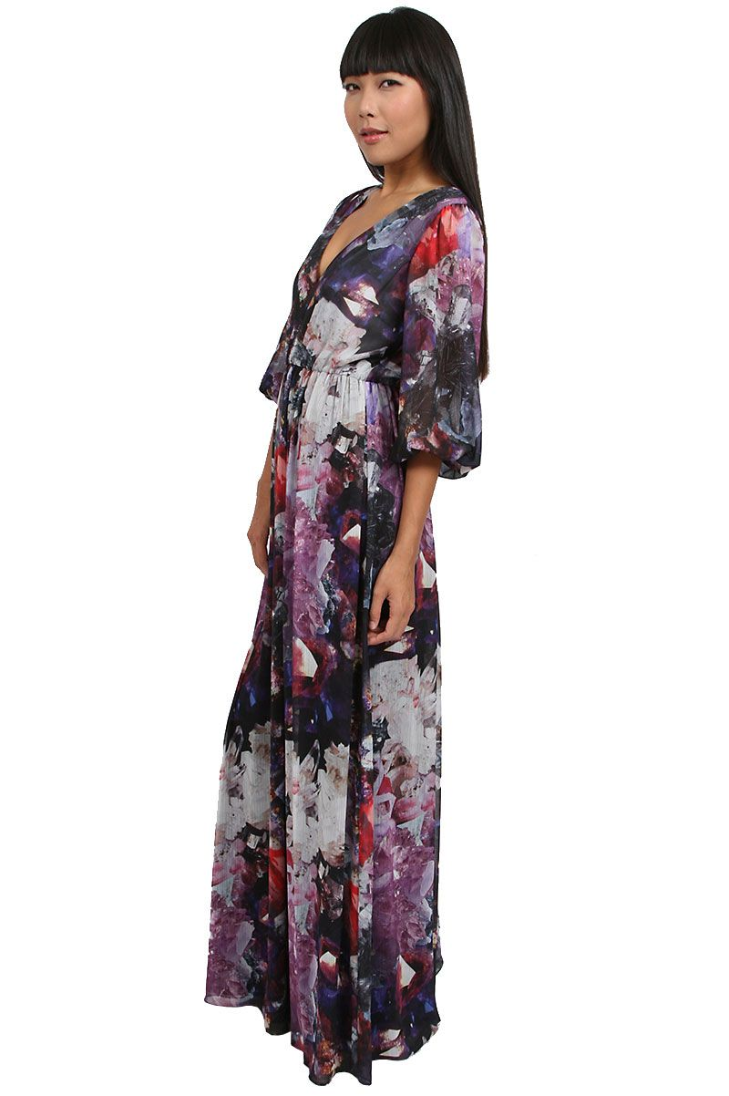 Alice and Olivia Faceted Crystal Print Louisa Maxi Dress