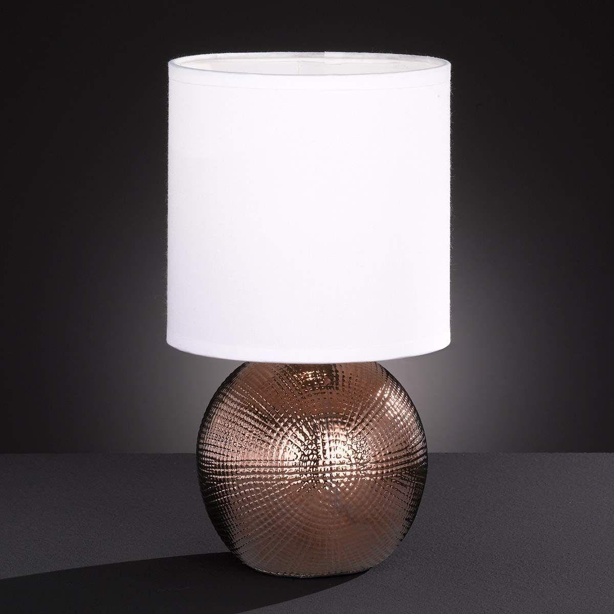 Deko Beistellleuchte Leuchtenschirm weiß Stoff Fuß chrom Keramik Tischlampe