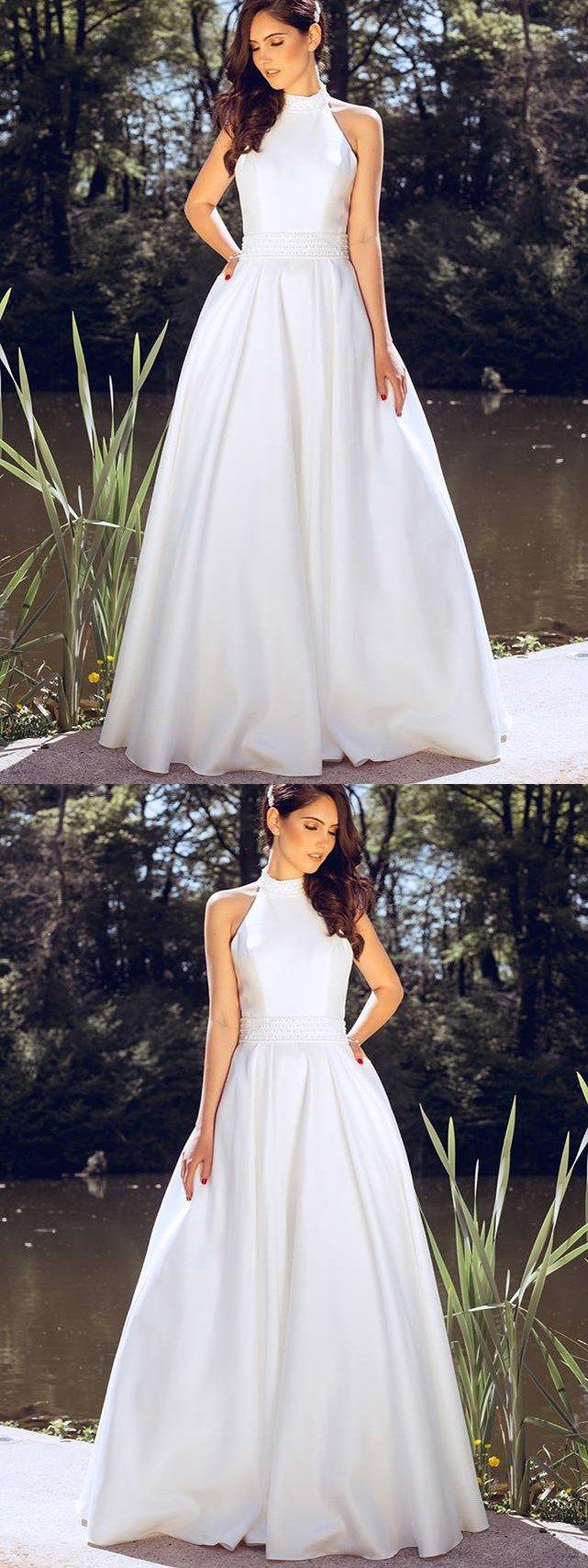 Wedding dresses with beading  Simple Wedding Dresses Floorlength Aline Beading Halter Cheap