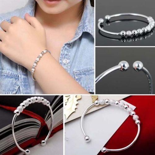 Open Beads Linked Bangle Bracelet Ladies 925 Silver Plt Womens