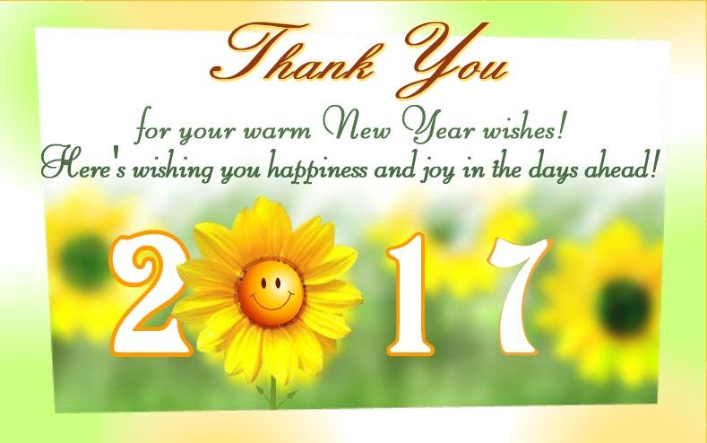 new year 2017 greeting card flowers
