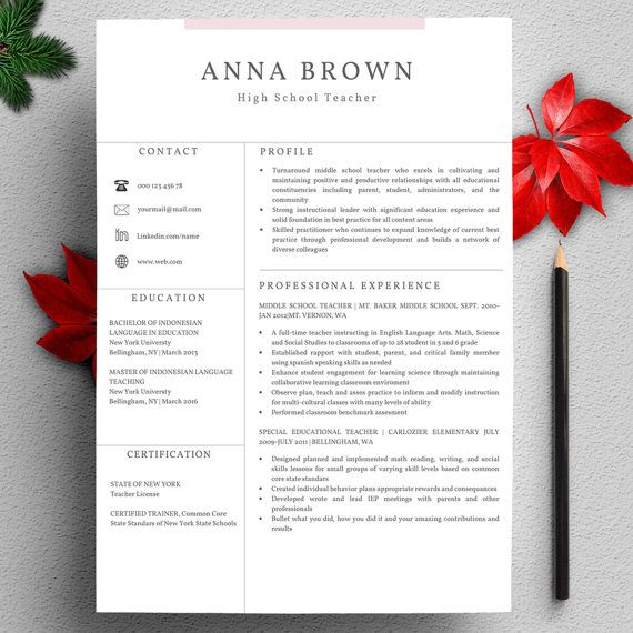 Profesional Resume Template for Word Instant Download CV Template US