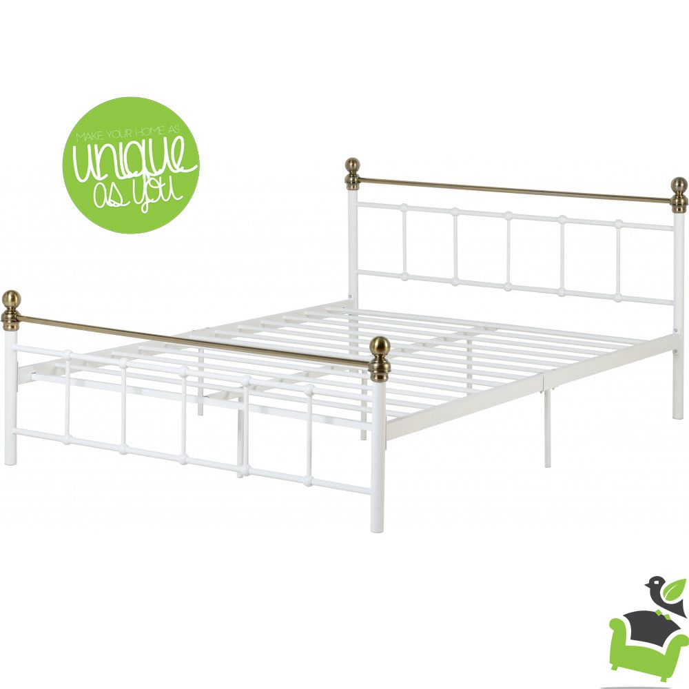 Marlborough Double Bed in White & Antique Brass #Bedroom #beds ...