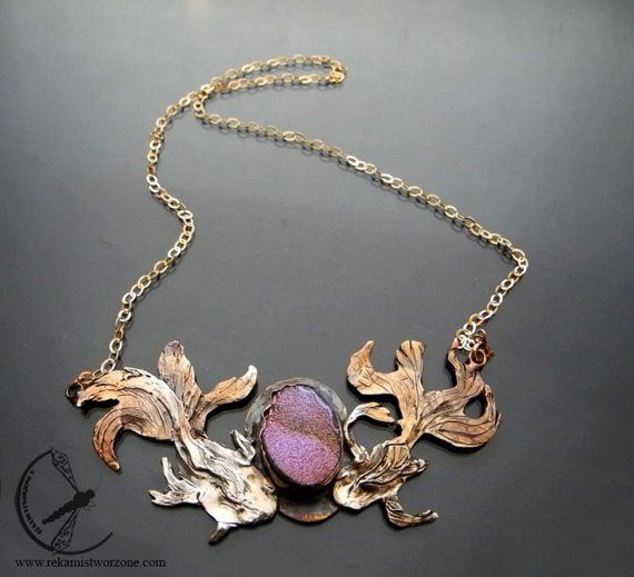 Goldfish Silver Necklace With Druzy Agate Pink Stone Gold Plated