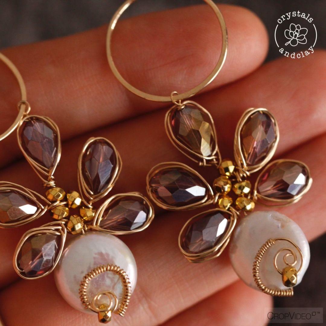 Photo of How to make beaded flower earrings using herringbone weave