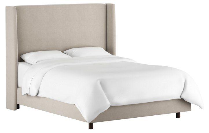 Best Kelly Wingback Bed Light Gray Velvet Grey Velvet Bed 400 x 300