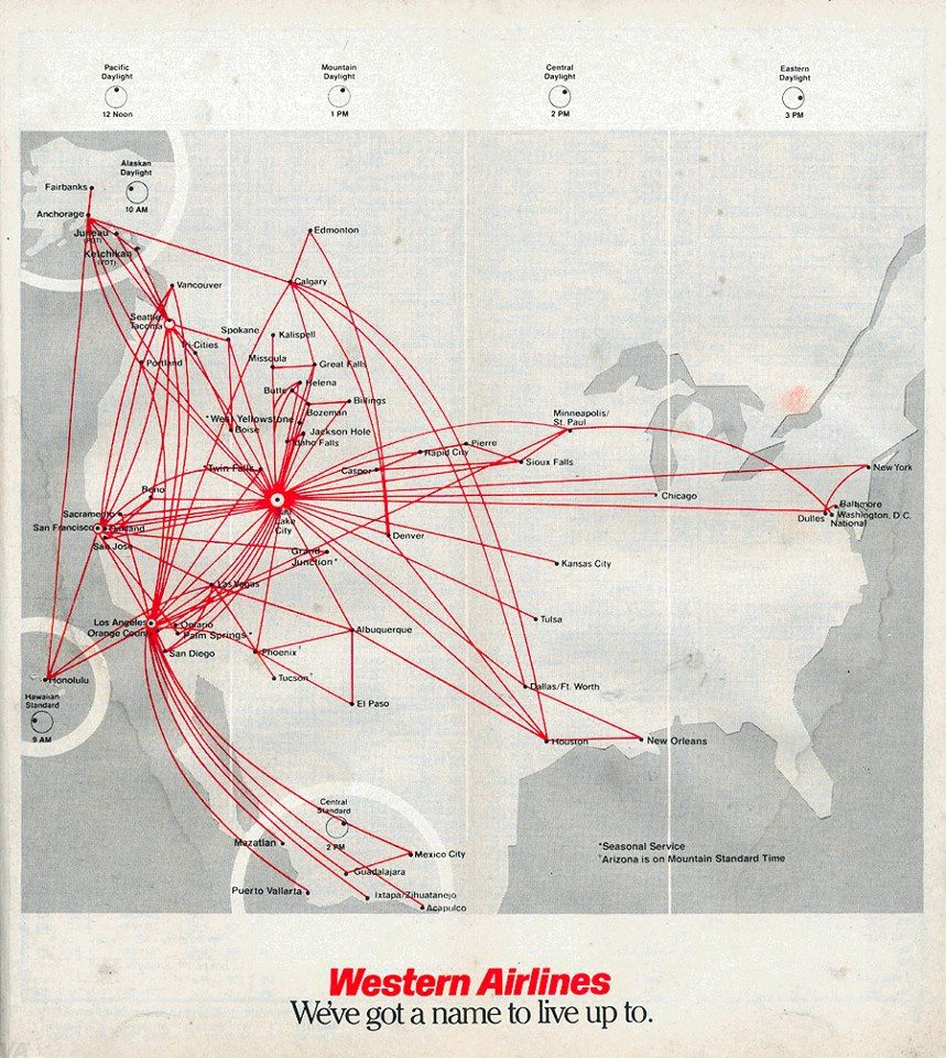 Route Map - Western Airlines | Airlines (Flown) | Pinterest ...