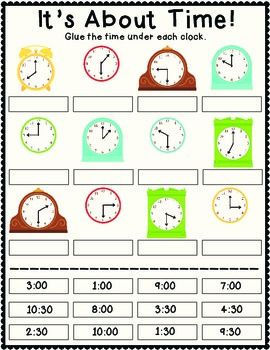 It\'s About Time Cut and Paste | Teaching - Math: Time | Pinterest ...