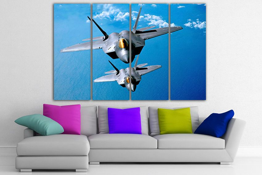 F22 Raptor Plane Canvas Fighter Squadron Aircraft Art Prints Fighter Aircraft Plane Poster Airplane Picture Military Aviation Gift Plane