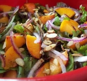 """Peach Salad With Balsamic Dressing: """"This salad is easy, healthy and colorful. Perfect for summer peaches!"""" -*Parsley*"""