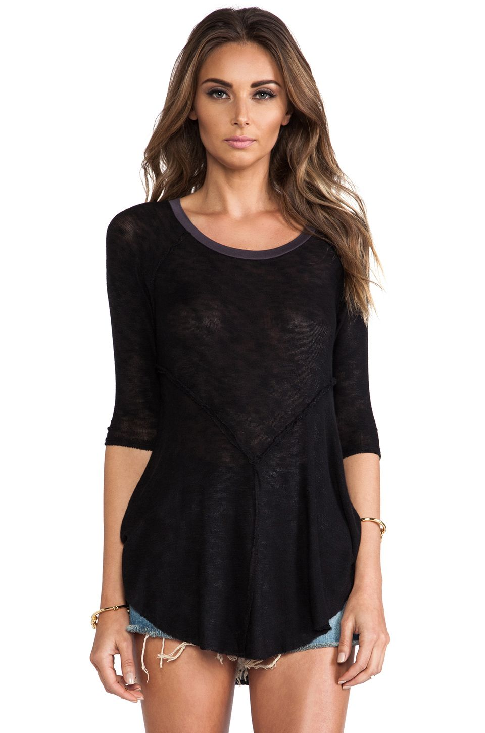 Free People Weekend Layering Top in Black Combo from ...