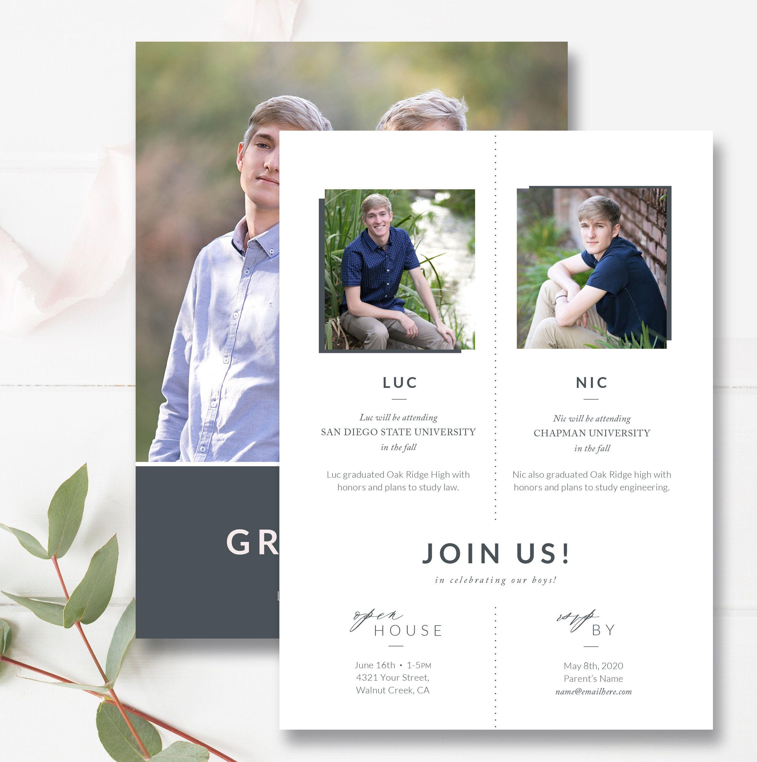 Twin S Graduation Card Template Senior Graduation Announcement Card Graduation Card Templates Photoshop Template Design Template Design