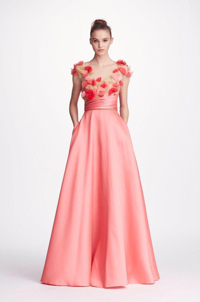 Pink Cap Sleeve Mikado Gown | Marchesa Notte | Pinterest | Marchesa ...
