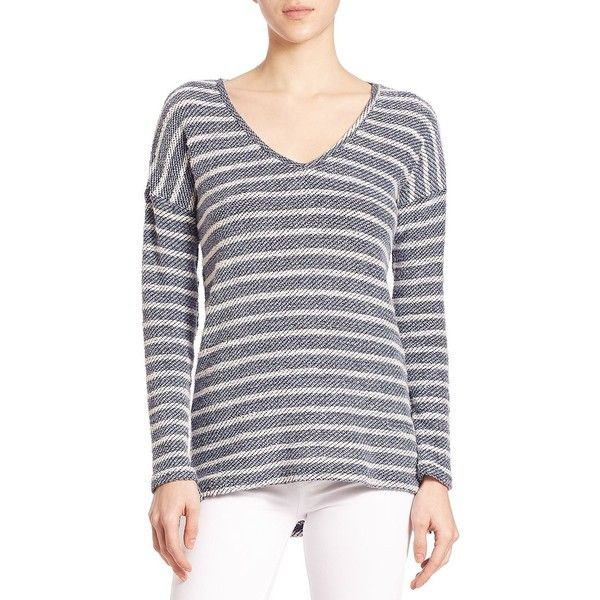 Paige Denim Martine Striped Sweatshirt ($155) ❤ liked on Polyvore featuring tops, hoodies, sweatshirts, apparel & accessories, v-neck tops, striped top, long sleeve tops, striped sweatshirt and paige denim