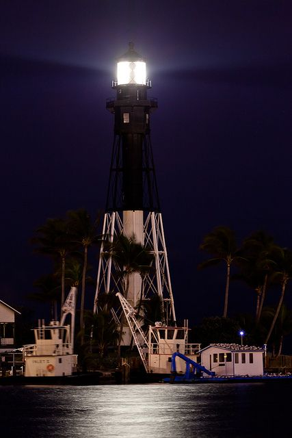 Hillsboro Inlet Lighthouse At Night Lighthouse