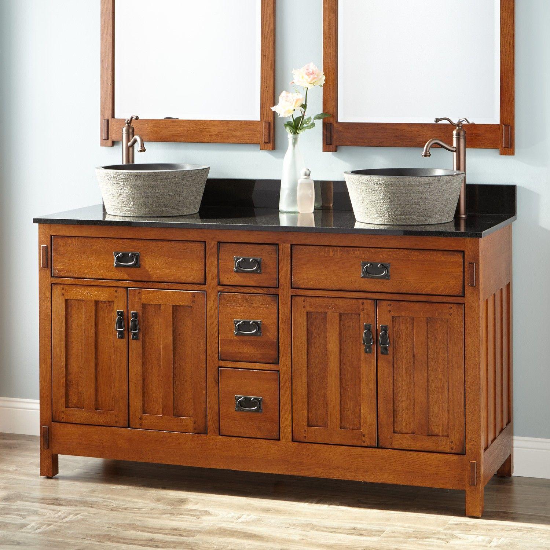 60 American Craftsman Double Vessel Sink Vanity Rustic Oak