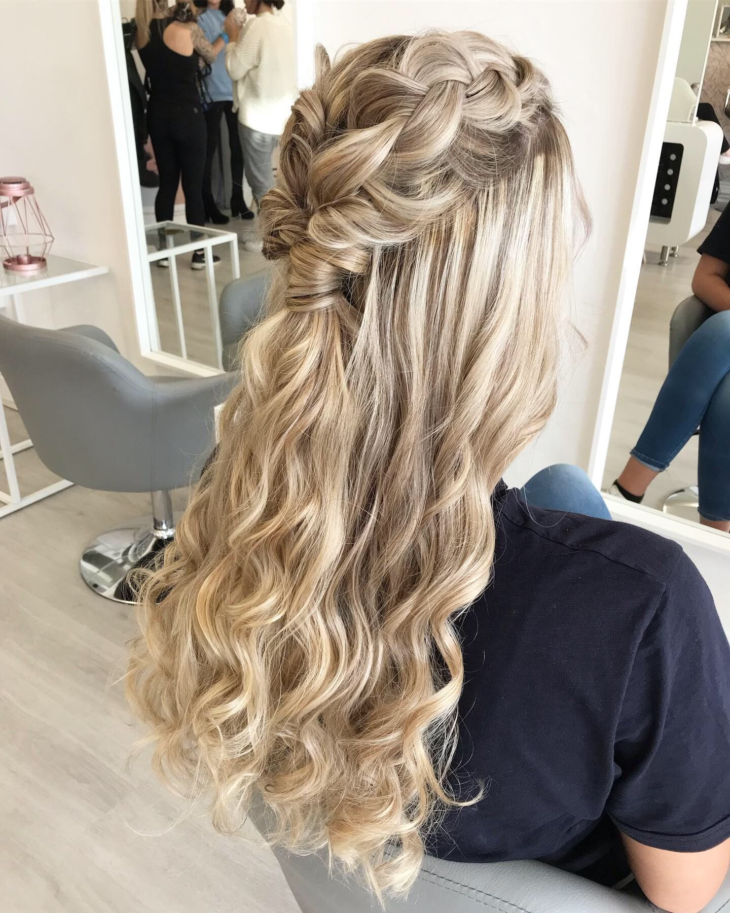 Plaited Half Up Half Down With Waves Debs Hairstyles Plaits Hairstyles Bridesmaid Hair