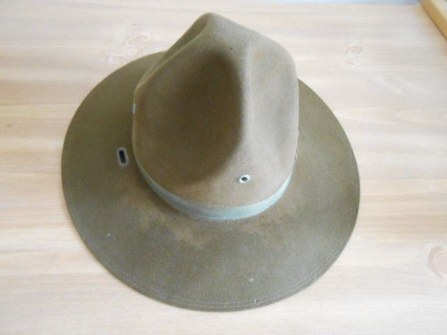 WW1 Military Hat Compaign Montana Peak Marine Marked Quantico 2af1a45c651e