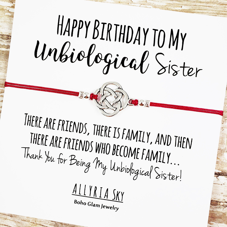 Happy Birthday Unbiological Sister Friendship Bracelet Best Etsy In 2021 Happy Birthday Soul Sister Unbiological Sister Sister Quotes