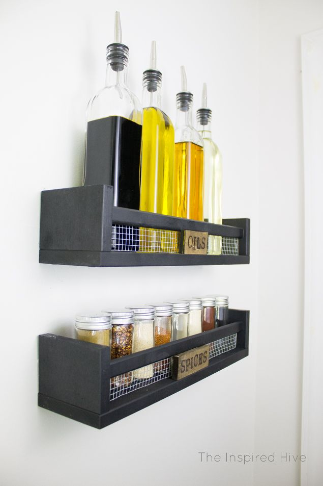 DIY Rustic Wall Mounted Spice Rack