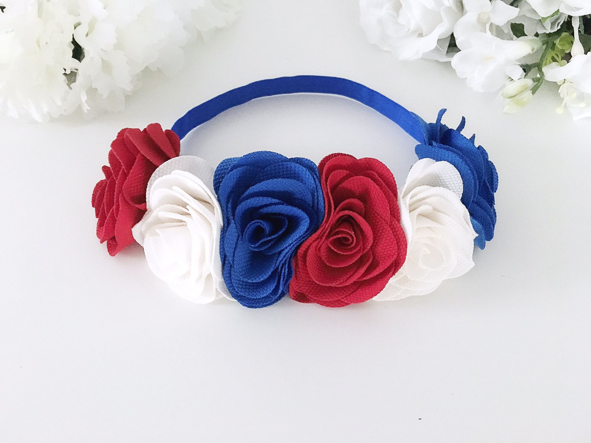Patriotic flower crown headband products pinterest flower this red white and blue flower crown headband is the perfect adornment for her precious little head this of july this item features adorable patriotic fl izmirmasajfo