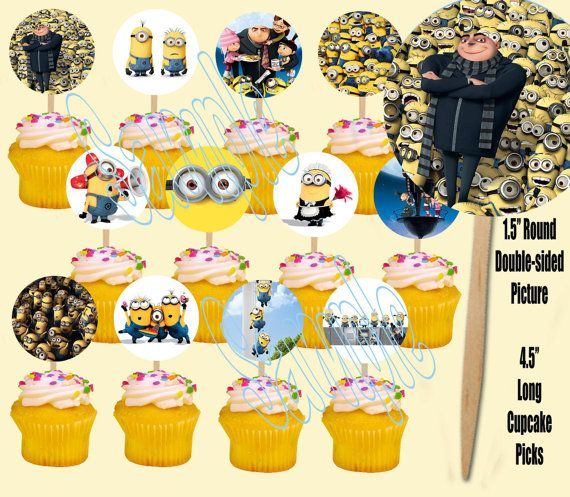 Cute Yellow Workers Double-sided Images Cupcake Picks Cake Topper -12, Stuart, Dave, Kevin on Etsy, $6.49