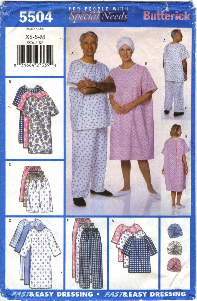 Butterick 5504 Unisex Gown Top Shorts Pants Turban Hospital