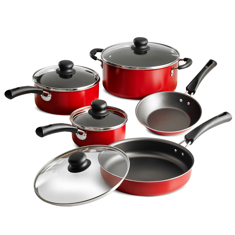 Tramontina 9 Piece Non Stick Cookware Set Red Walmart Com In 2020 Cookware Set Nonstick Cookware Set Stainless Steel Cookware Set
