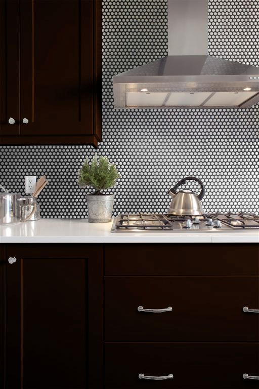 Kitchen Color Palette Espresso Cabinet White Quartz And White Penny Backsplash Tile With Blac Penny Tiles Kitchen Espresso Cabinets Kitchen Backsplash Images
