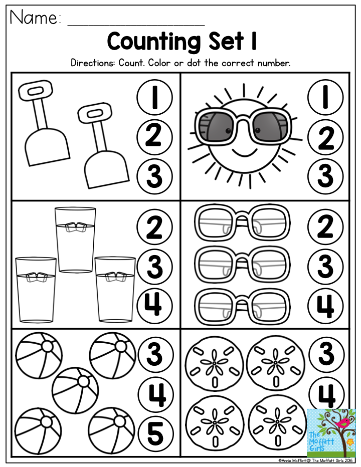 Counting Summer Fun- Perfect Number Recognition Activity From The Summer  Review NO PREP Packet For P… Summer Preschool, Summer Preschool Themes,  Summer Worksheets