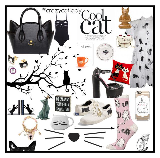 """Cool cats-crazy cat lady"" by tori-holbrook-th on Polyvore featuring Dorothy Perkins, Lazy Oaf, Keds, Casetify, NOVICA, Betsey Johnson, Kate Spade, Improvements, Iron Fist and Primitives By Kathy"
