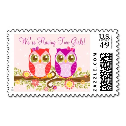 Baby Owls - Twin Girls Custom Postage Stamps