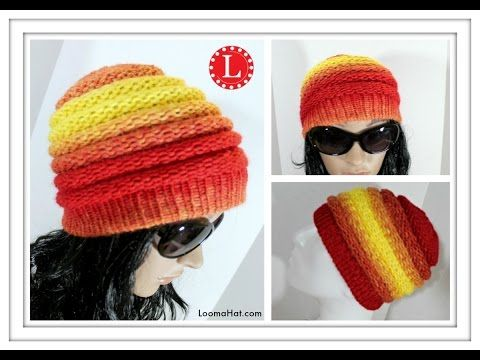 106da4a06fe LOOM KNITTING HAT Ombre Beanie Pattern for Men and Women made on the Extra  Large 40 - 41 peg loom - YouTube