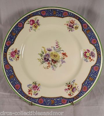 Royal Doulton China Rd94 Multi Floral Blue Panels Green Trim 10 in Dinner Plate