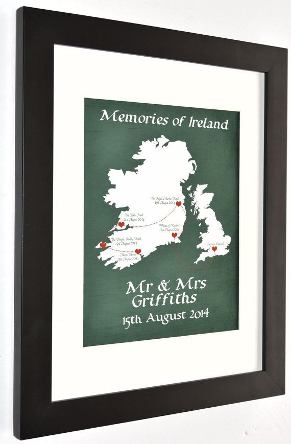 Unique Ireland Map Anniversary Gift For Him Or By Printsinspired