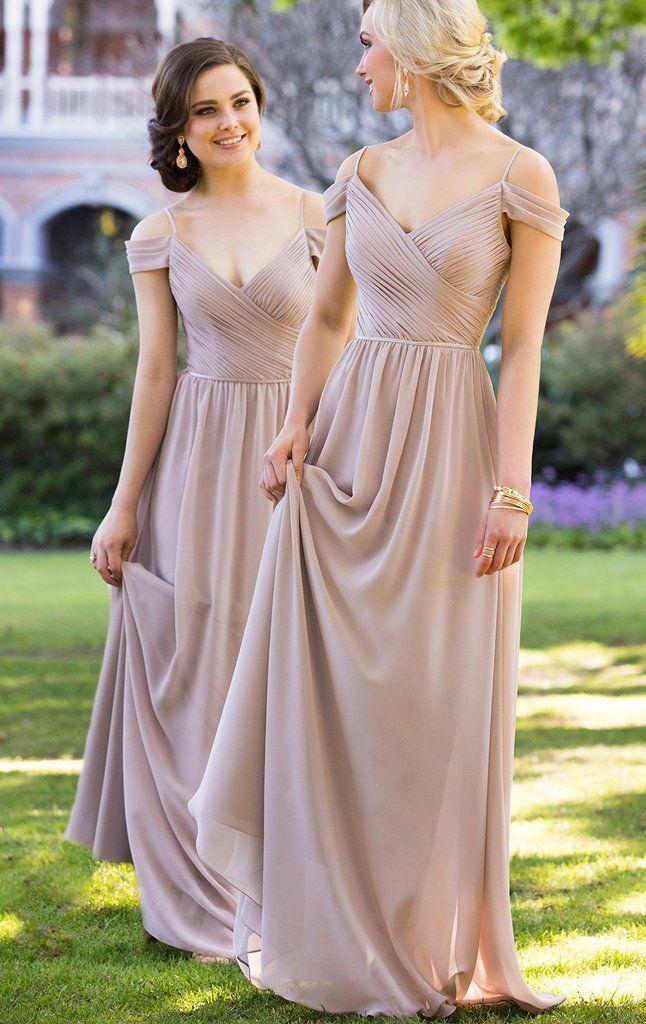 Elegant 2017 Wedding Bridesmaid Dress Bridal Gown Simple Long Off Shoulder Chiffon V Neck Champagne Formal