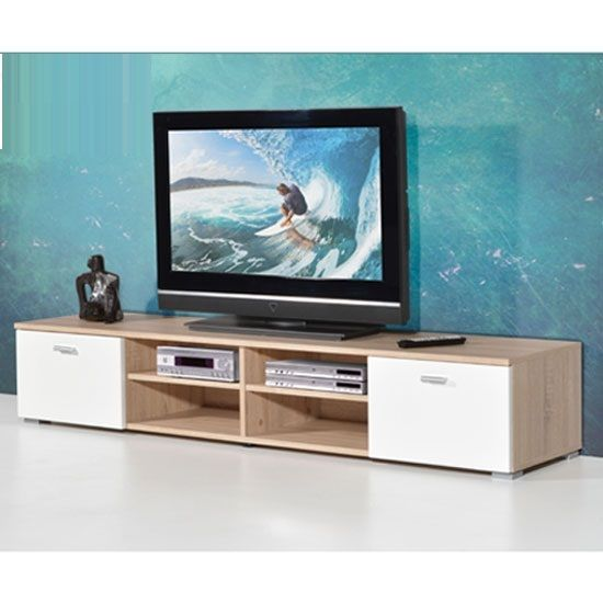 Contemporary LCD TV Stand For In Oak With Gloss Doors - Buy Modern Budget TV Stand, Cabinet, Unit, Furnitureinfashion UK