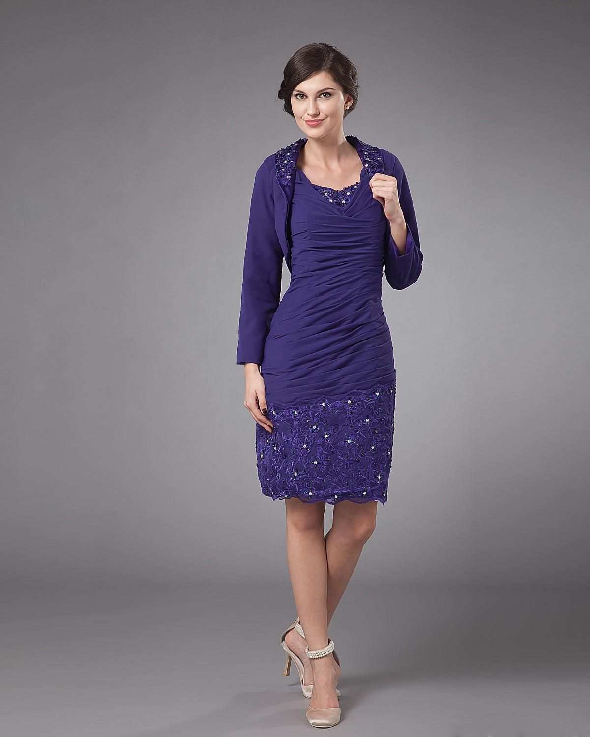 Mother dresses for fall wedding  Chiffon Knee Length Ruffled Mothers Of Bride Guests Dress Read More