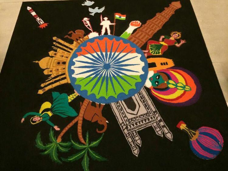 Pin by bhavesh on flower Poster rangoli, India painting