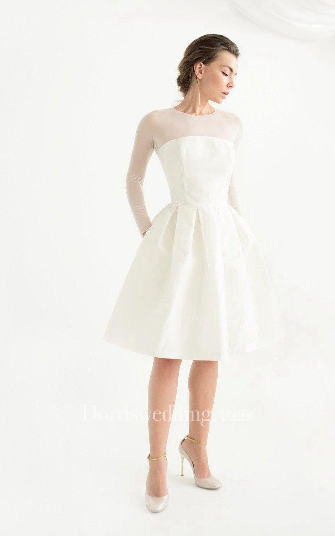 Knee Length Long Sleeve Taffeta Weddig Dress Dorris Wedding Short Wedding Dress Knee Length Wedding Dress Simple Short Dresses [ 1500 x 939 Pixel ]