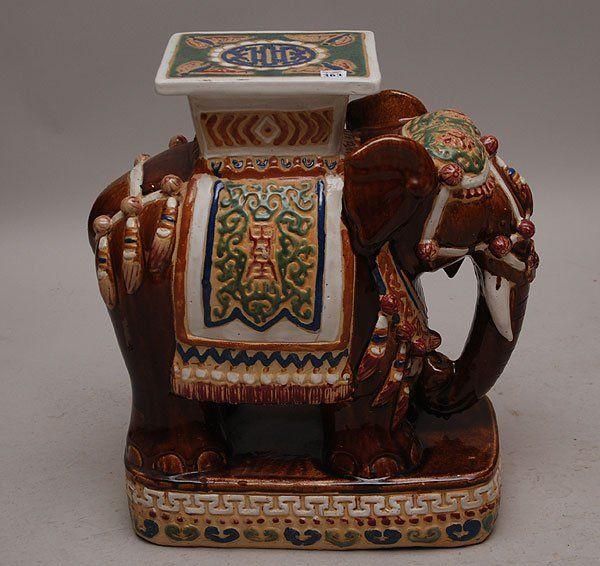 Elegant Ceramic Elephant Garden Stool