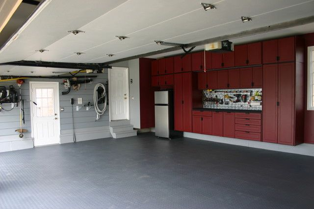 Fantastic Garage Cabinets With Sleek Concrete Floor Efficient Wall