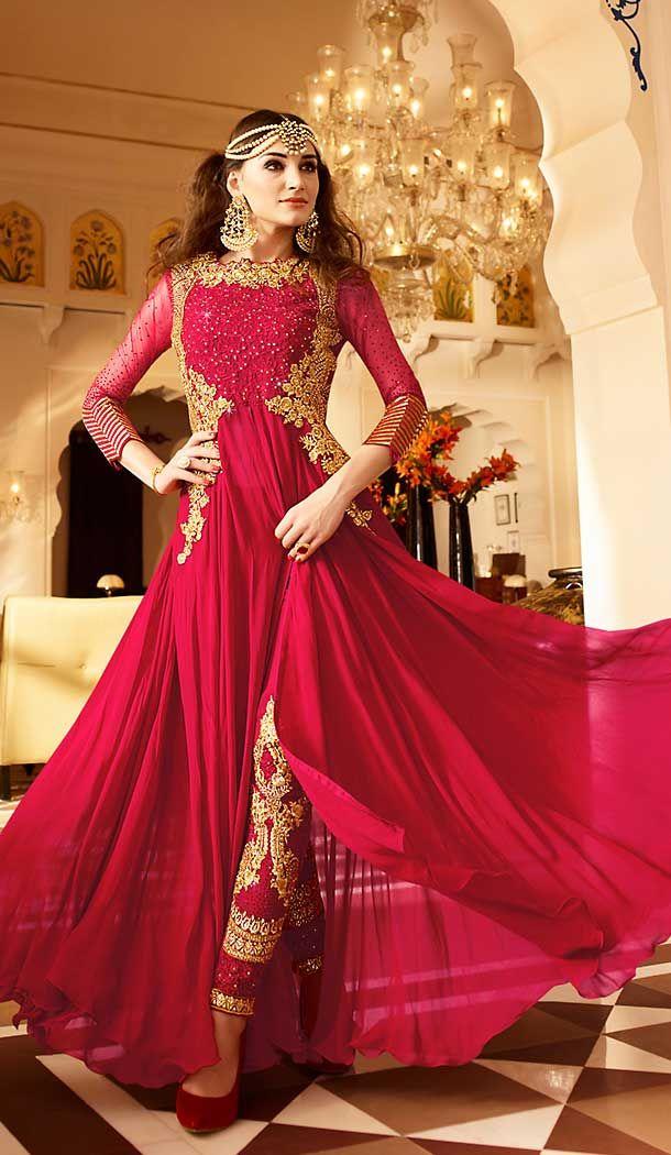 584469a4b7 Crimson Color Georgette Abaya Style Long Salwar Kameez the lovely resham & crystals  stones work a