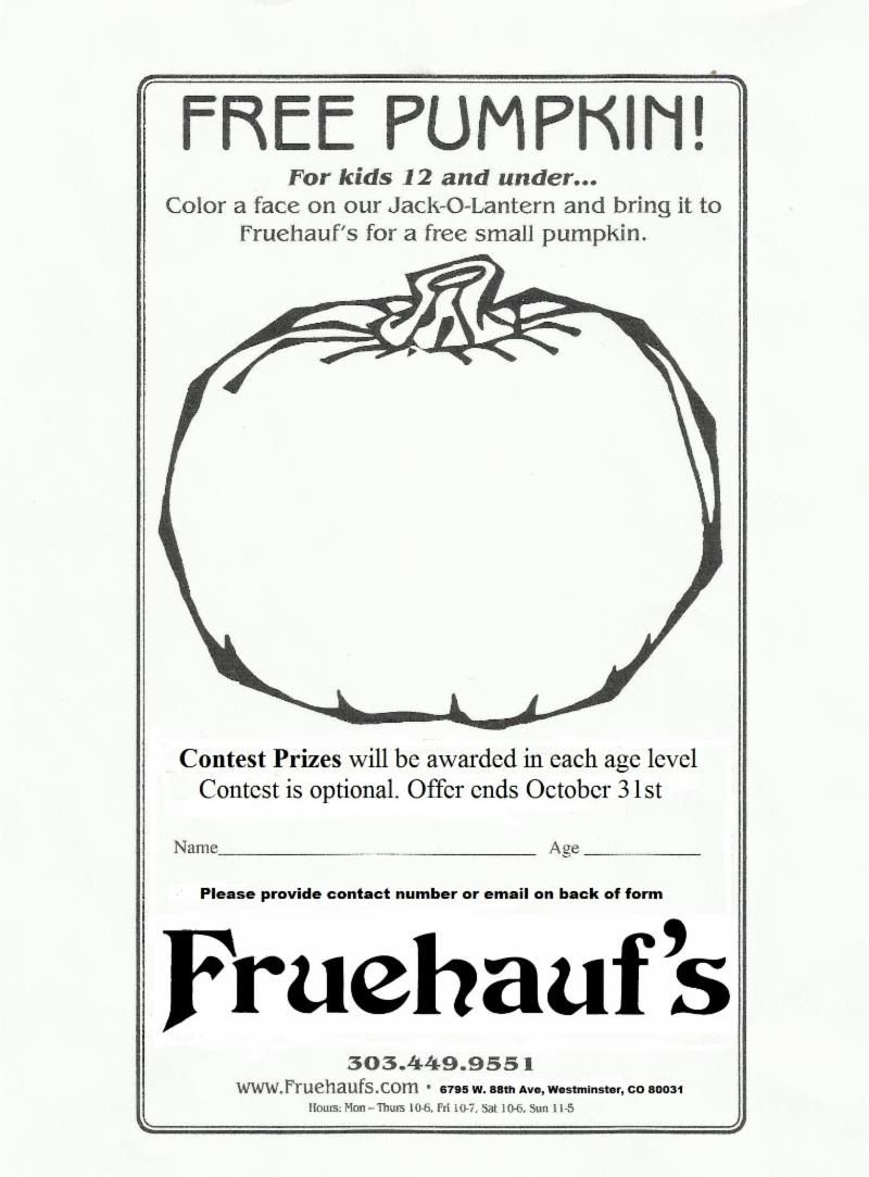 Get a FREE Pumpkin at Fruehauf's Patio | Coloring contest ...
