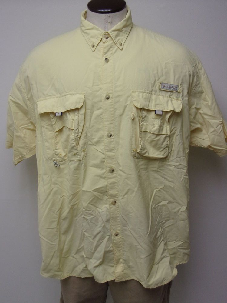629366e31b2 EUC Men's Columbia Sportswear PFG sz XL Yellow SS Shirt PERFORMANCE FISHING  GEAR #fashion #