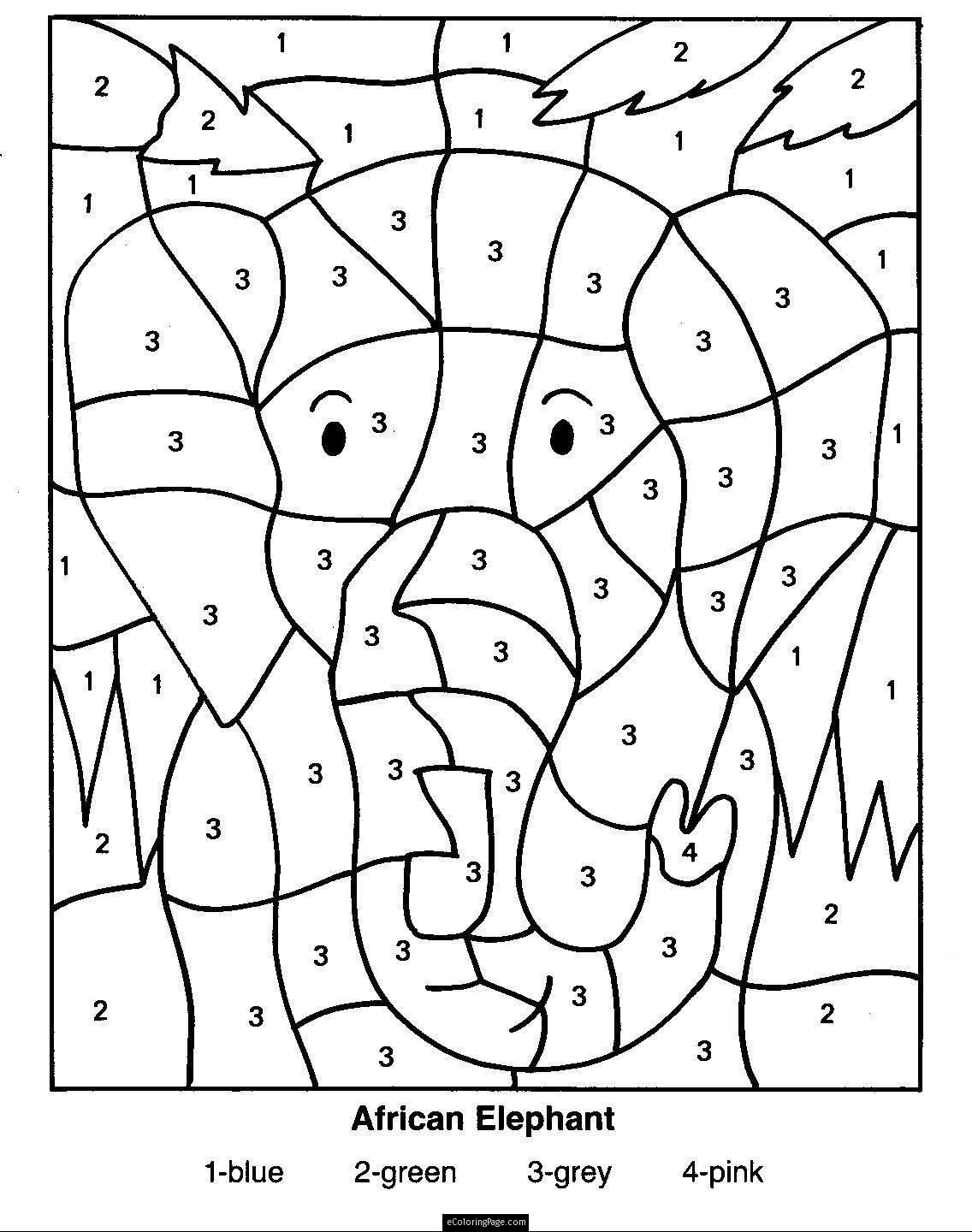 Free coloring pages for kindergarten printable - Color By Numbers Elephant Coloring Page For Kids Printable Ecoloringpage Com Printable Coloring