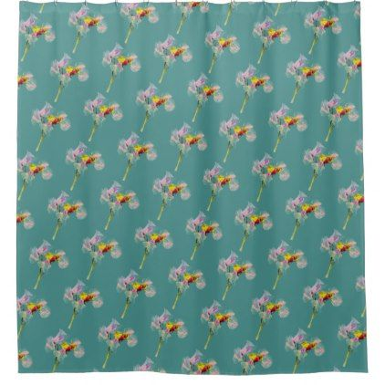 Tropical Teal Sweet Pea Print Shower Curtain Bathroom Accessories Home Living